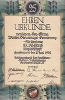 Urkunde von 1932 25.Jahre
